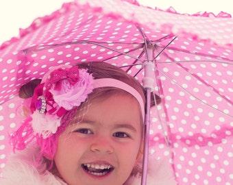 Pink Rosette Headband - Photo Prop - Baby Headband - Birthday Headband - Infant Hairpiece