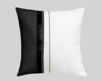 "Decorative Pillow Case, Black-White Throw pillow case with gold-black decortion, fits 18""x18"" insert, Toss pillow case."