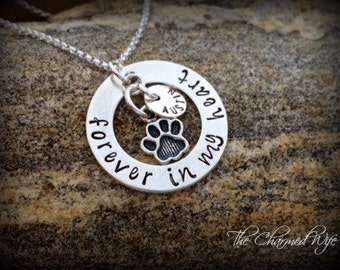 Pet Memorial Jewelry - Personalized Sympathy Necklace - Hand Stamped Remembrance Gifts Dog / Cat lovers - Sterling Silver - The Charmed Wife