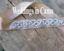 Wedding dress with camo ribbon
