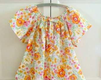 Vintage 70s Womens Sundress, Sears Floral Smock Peasant Dress, Bright Colors Tent Dress, Size Medium 12 14