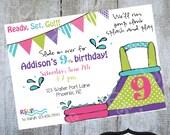 WATER SLIDE Birthday Invitation Printable party invite by Luv Bug Design