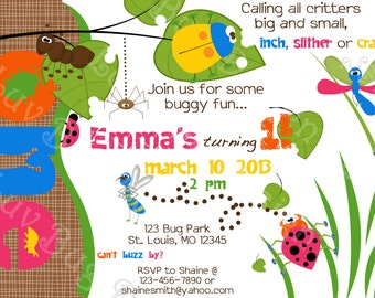 BUG INSECT Birthday Party Invite- Printable party invitation by Luv Bug Design