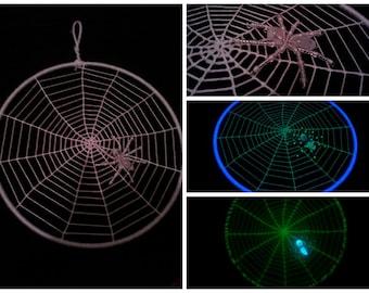 Glow in the Dark Spiderweb Dream Catcher with Glow in the Dark Beaded Spider - 7 Inches in Diameter