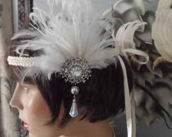 FLAPPER headband GATSBY headband Gatsby headpiece fascinator antique silver ox  white feather roaring 20's wedding bridal hair accessories