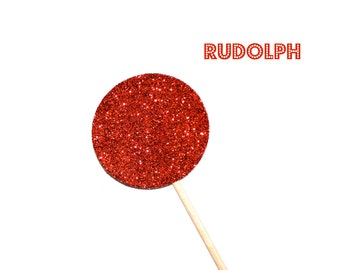 Holiday Photo Booth Props - Rudolph's Red Nose - GLITTER Photo Booth Props - Christmas Photo Props