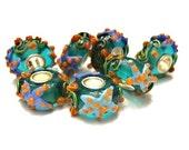 2 Sea Life III w/ Periwinkle Starfish , European, Glass Lampwork, Large Hole, Slide Charm Bracelet Beads