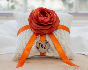 Orange ranunculus  flower natural burlap personalized ring bearer pillow  shabby chic with engraved initials... many more colors available