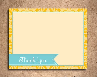 Teal and Gold Damask Thank You Notecards (set of 10) - Featured in the GBK 2012 Golden Globes Celebrity Gift Lounge