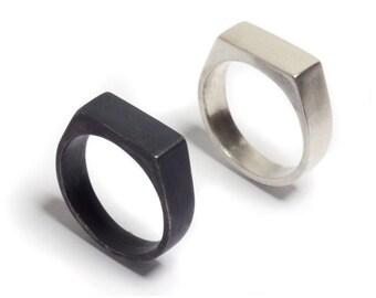Sterling Silver Signet Ring - Everyday Signet Ring -  Rectangle Signet Ring - Unisex Signet Ring - 925 Sterling Silver Unisex Signet Ring
