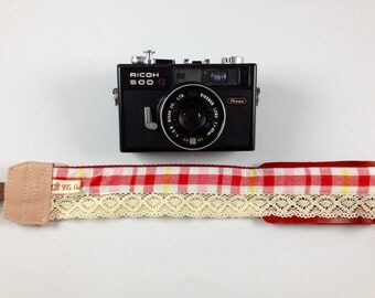 DSLR Camera strap (leather and webbing)---Lace style 3
