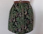 Handmade skirt owl bird woods trees woodland black high waisted