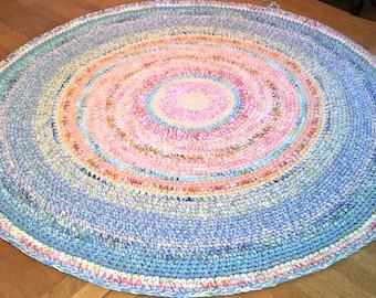Large Custom Made Cottage Floor Rug/Round Rug/ Area Rugs/ Rugs/ Round Rug/Handmade Rug/Playroom Rug/Nursery Room Rug/Crochet Rugs/Floor Rug