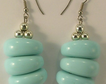 Light Blue and Silver Tone Beads Pierced Earrings with French Wires