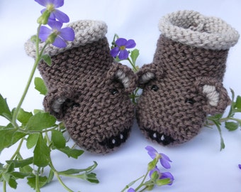BABY KNITTING PATTERN in pdf - Teddy Bear Baby Booties