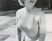 Vintage Woman's Short Sleeved Top Knitting Pattern / Beehive Woman's moss stitch sweater pattern / Mad Men / Classic 1950's sweater