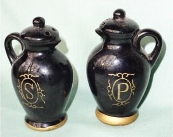 Vintage Salt Pepper Shakers Black with Gold