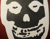 misfits fiend skull cutout sew on white patch