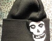 misfits fiend skull black beanie side
