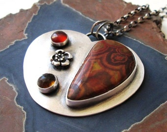 SALE:  Morgan Hill Poppy Jasper Heart Pendant in Sterling Silver Necklace Jewelry with Flower, Amber and Smoky Quartz Accents
