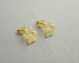 Paw Print Earrings - 14k Gold Studs - Gold Paw - Solid  Gold Earrings - Pet Lover Gift - Cats and Dogs Paw
