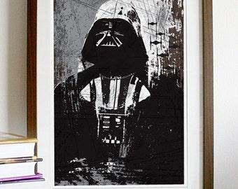 Star Wars All Black Darth vader Vintage Poster Print