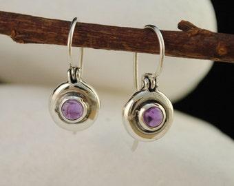 Amethyst Solid Sterling Silver Dangle/Hook Earrings