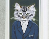 Framed Fine Art Print - Alan - Cats In Clothes by Heather Mattoon