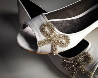 Lily Bow Open Toe Ballet Flats Wedding Shoes - All Full Sizes