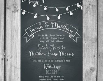 String Light Chalkboard Inspired Wedding Invitation Set