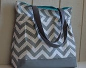 Pleated Shoulder Bag - Diaper Bag Tote - MADE TO ORDER - Grey and White Chevron - Zipper, adjustable strap, tote handles, Waterproof Bottom