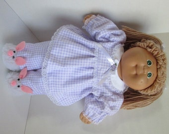 "16"" Girl Cabbage Patch Lavender and White Check Pajamas"