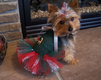 Christmas Dog TuTu Dress for toy breeds in Red and Green-Reindeer tutu  - Hair bow included