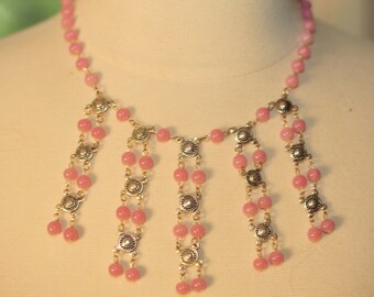 Handmade Vintage Pretty Pale Pink Drop Necklace