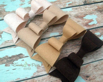 Felt Hair Bow - Brown Beige Khaki - Large Hair Bow - Wool Felt - Hair Clip - Hair Barrette - French Clip - Girls - Women - Teen
