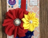 Vintage Snow White Inspired Royal Blue, Yellow, Red Headband Ready to ship