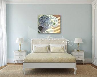 "Hydrangea Canvas Print- Blue hydrangea floral art, canvas wrap, blue, tan, white, still life photography print ""Hydrangea Blues"""