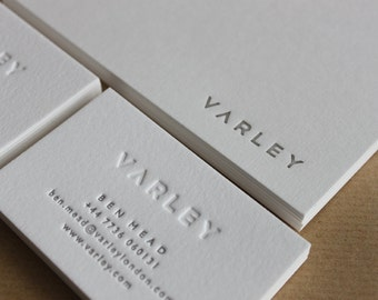 Letterpress Business Cards, on Pure White Cotton stock // made to order - set of 200