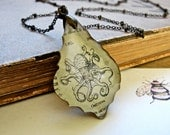 Repurposed Chandelier Crystal With OCTOPUS vintage dictionary paper brass Necklace