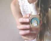 Turquoise owl necklace - light wood owl frame necklace - turquoise owl necklace, under 50 for women