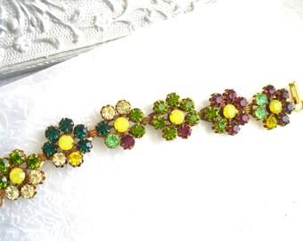 Jewel Tones Flower Bracelet Swarovski Crystal Vintage Flower bracelet Large bracelet 7-1/2 inch Plus Size Jewelry Deep Colors bracelet