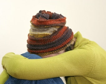 Slouchy Knit Hat in Autumn Colors - Chunky Beanie - Oversize Beret - Fall Winter Fashion  - Women Teens Accessories