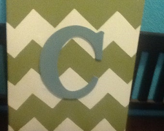 Chevron Canvas with Initial - painted canvas monogram painted letter initial canvas nursery art