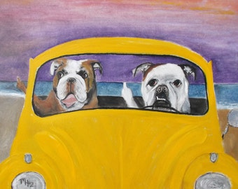 "English Bulldog Art Print  of an original oil painting/ ""Beach Parking Road Rage"" / 8"" x 10"" / Dog Art/Wall Art/Home Decor"