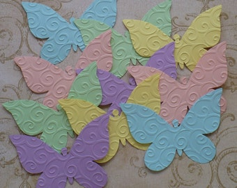 10 Embossed Butterfly / Butterflies - Sizzix  Die Cut pcs Pastel colors cardstock paper 4 Photo Shoots Weddings Showers