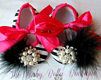 Zebra Baby Girl hot Pink, feathers and rhinestone Crib Shoes ,Baby booties,Girls shoes.