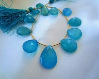 Sky Blue Chalcedony Faceted Briolette, Plump Blue Chalcedony