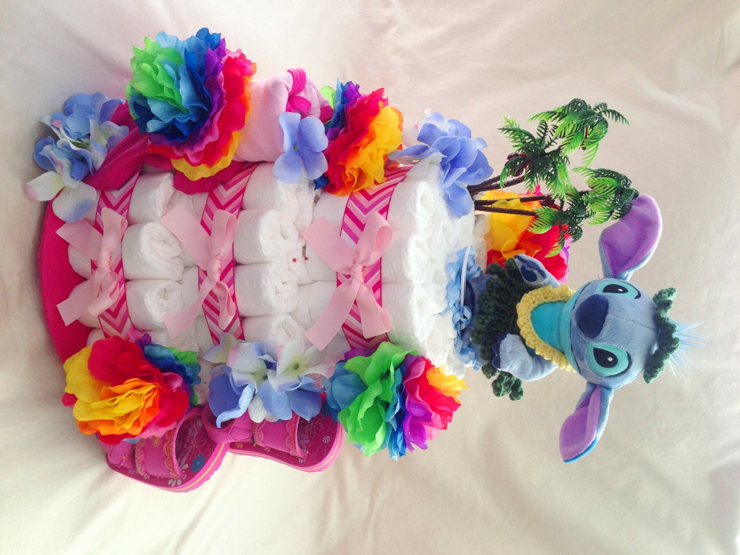 Hawaiian inspired diaper cake made by Creative Couture ...