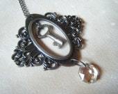 Antique Skeleton Key Vintage Style Bookplate Pendant Necklace- Steampunk Necklace
