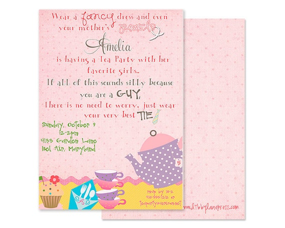 DRESS UP TEA Party Invitation, Attachable Tea Bag, Digital File or Printable